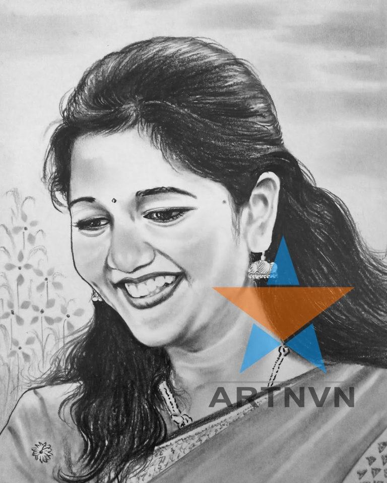 Portrait Photo Art Sketch Colour Canvas Oil Painting