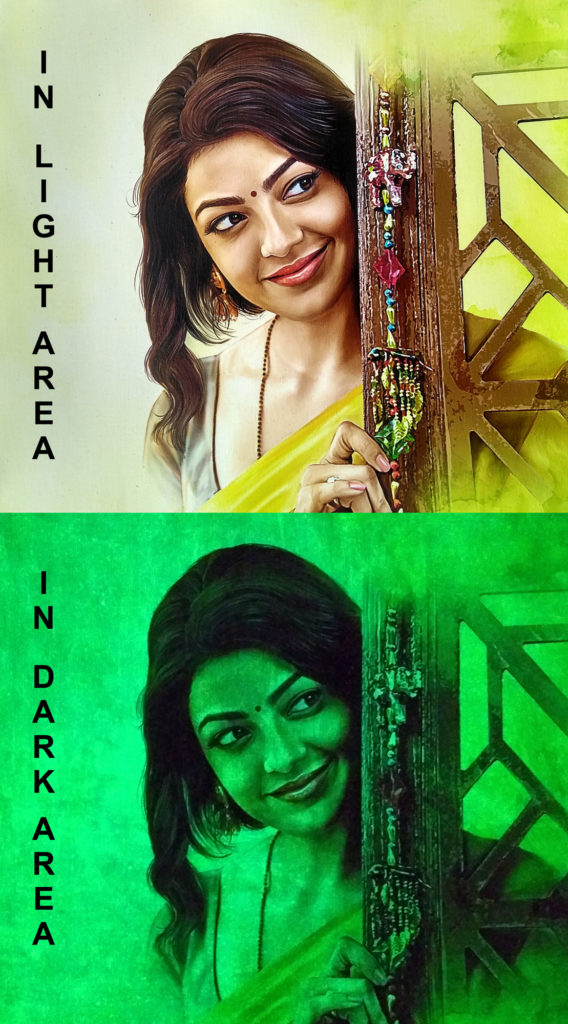 Kajal Agarwal Glow Canvas Portrait Painting Hyderabad Telangana INDIA